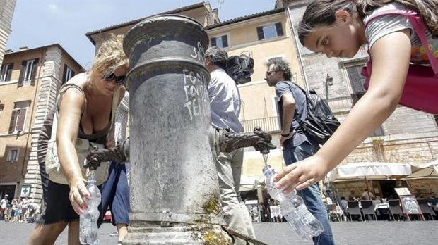 Agua, Roma, fuentes, calor, calentamiento global, sequía