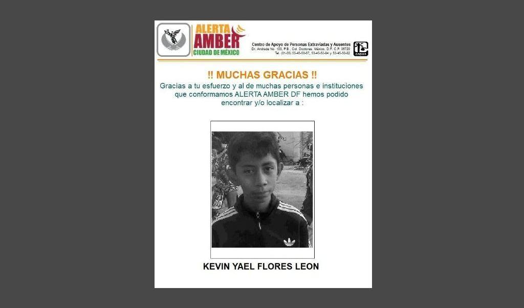 Localizan al menor Kevin Yael Flores León