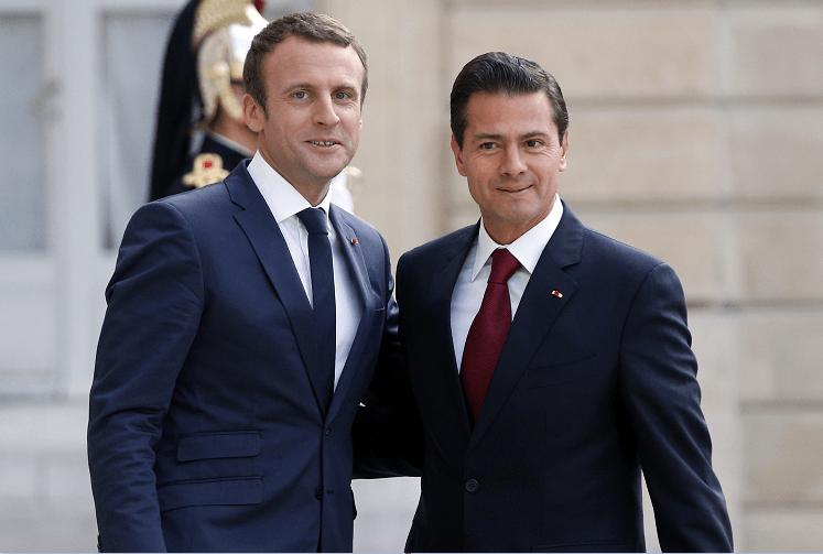 Los presidentes Emmanuel Macron, de Francia, y Enrique Pena Nieto