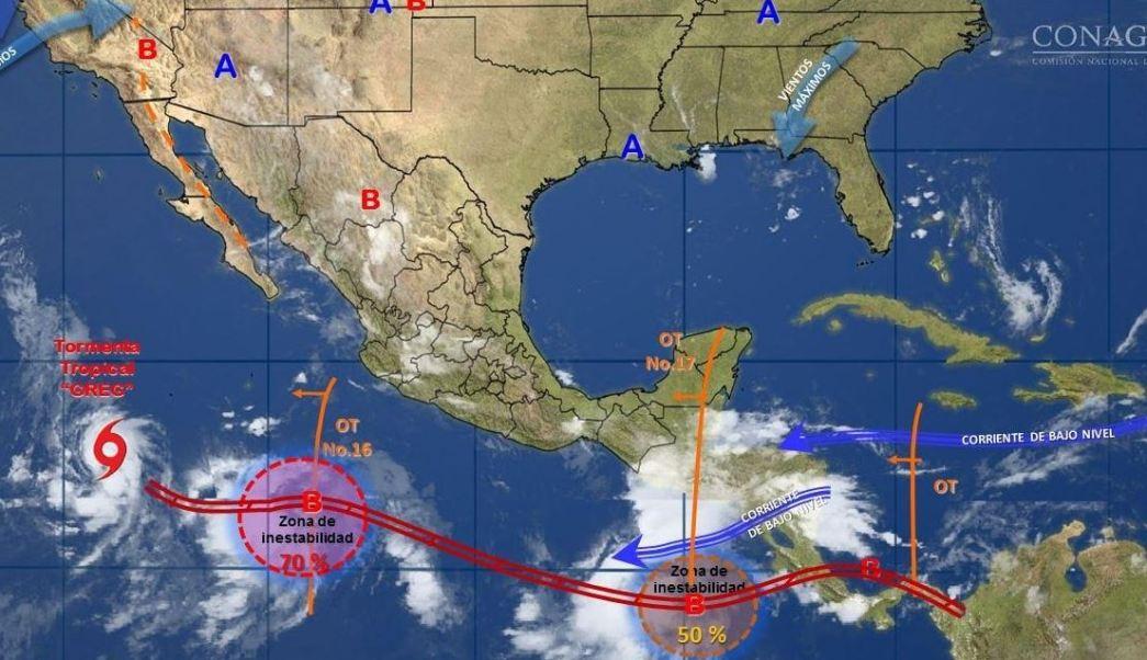 mapa con el clima para este 21 de julio