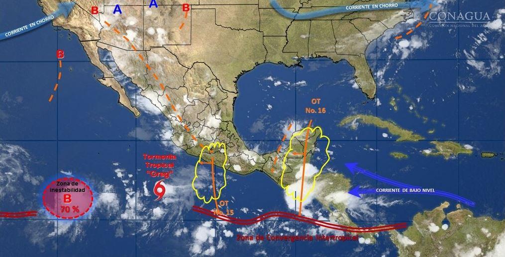 mapa con el pronostico del clima para este 18 de julio