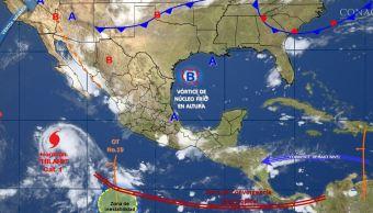 mapa con el pronostico del clima para este 27 de julio