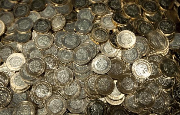 Moneda mexicanas con valor de diez pesos