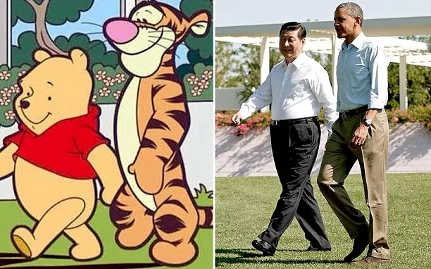 """Meme del presidente de China, Xi Jinping, y el exmandatario de EU, Barack Obama con personajes de """"Winnie the Pooh"""" (Foto: The Telegraph)"""