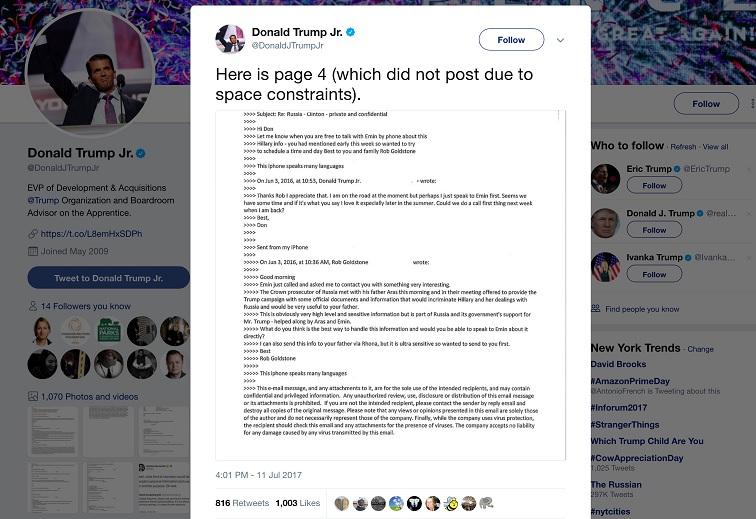 Parte de una conversación por correo electrónico entre Donald Trump Jr y el publicista Rob Goldstone se ve en un mensaje de Twitter (Reuters)