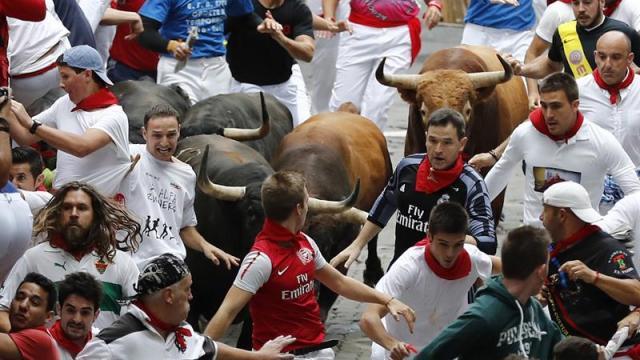 Séptimo encierro, Pamplona, España, San Fermín, fiesta brava, tauromaquia, toros