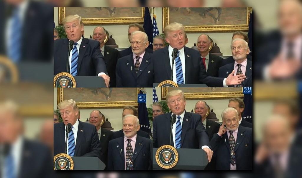Expresiones hilarantes de Buzz Aldrin en el discurso de Donald Trump sobre el espacio (Foto: Youtube The White House)