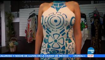 Cultura mexicana, reflejada, vestidos pintados, mano