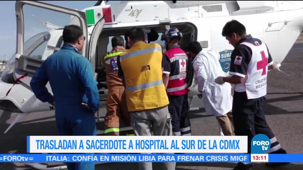 Trasladan Helicoptero Sacerdote Agredido Hospital Cdmx José Miguel Machorro