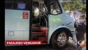 Pasajero asesina dos asaltantes autobús Tlanepantla