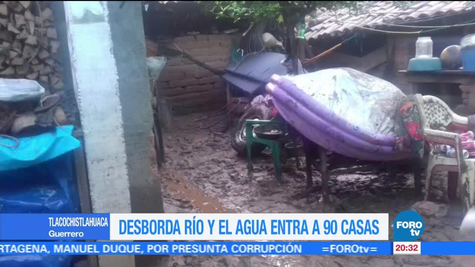 Desborda río afecta Tlacoachistlahuaca casas Guerrero