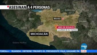 Asesinan a 4 personas en Ario de Rosales, en Michoacán