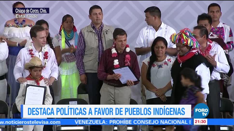 Peña Nieto destaca política pueblos indígenas
