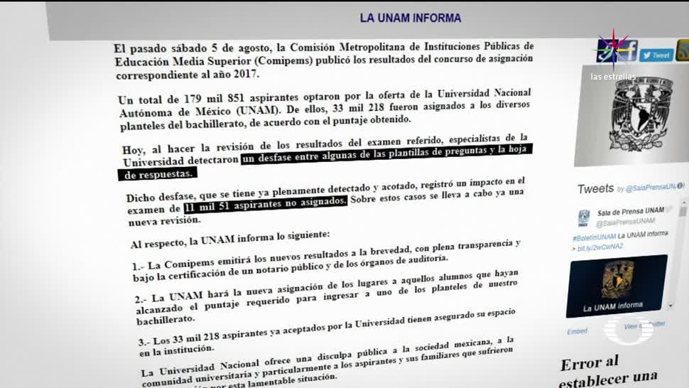 UNAM admite falla calificación de exámenes
