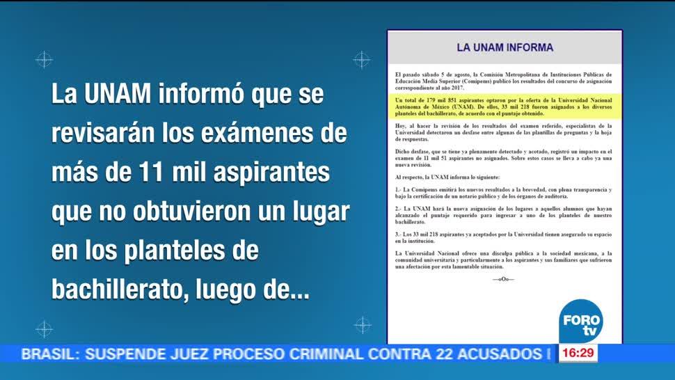 UNAM revisará exámenes de aspirantes a bachillerato