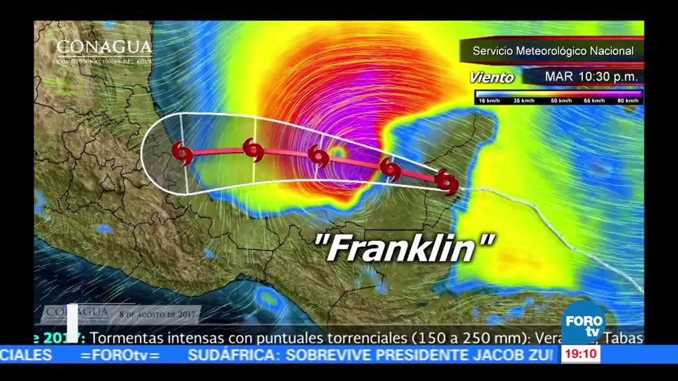 Franklin podría evolucionar a huracán en breve