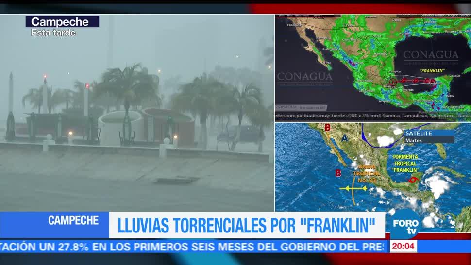 Campeche registra inundaciones tormenta tropical Franklin