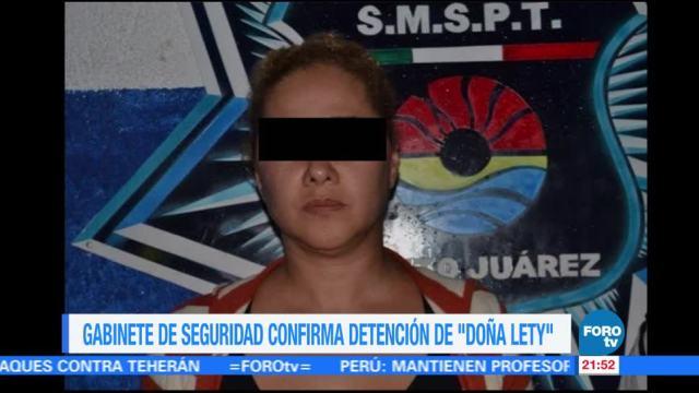 Gabinete de Seguridad confirma detención de 'Doña Lety'
