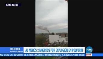 Autoridades confirmaN dos muertos explosión Tultepec