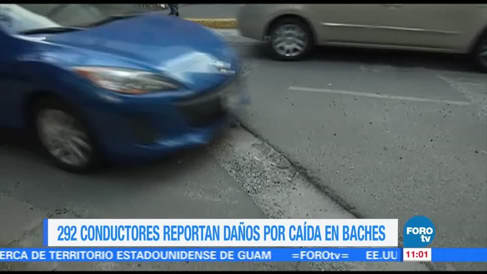 conductores, reportan, daños, baches