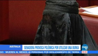 Senadora, australiana, presenta, burka