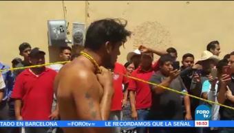Desnudan y amarran presunto ladrón Oaxaca