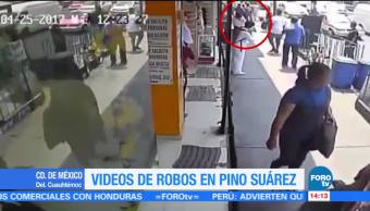 Videos robos transeúntes Pino Suárez CDMX