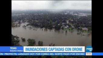 Drone Capta Imagenes Inundaciones Texas Intensas Lluvia Harvey