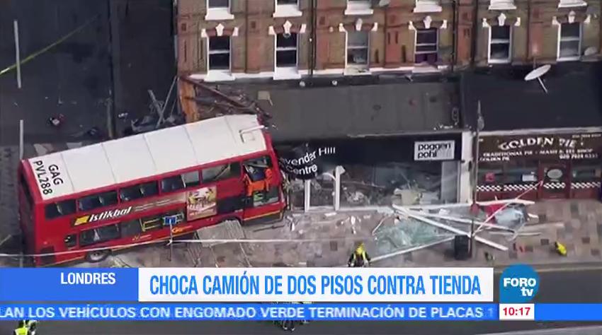 Autobús, choca, edificio, Londres