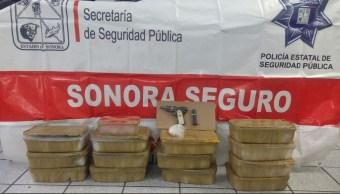 Aseguran maletas con droga en autobús en Sonora