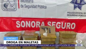 Sonora, aseguran, metanfetamina, maletas