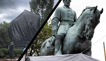 Charlottesville cubre con lona estatua de héroe de supremacistas