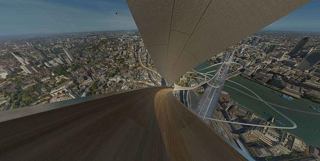 Imagen virtual del descenso por el tobogán en The Shard