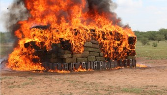 pgr y militares incineran drogas en sonora