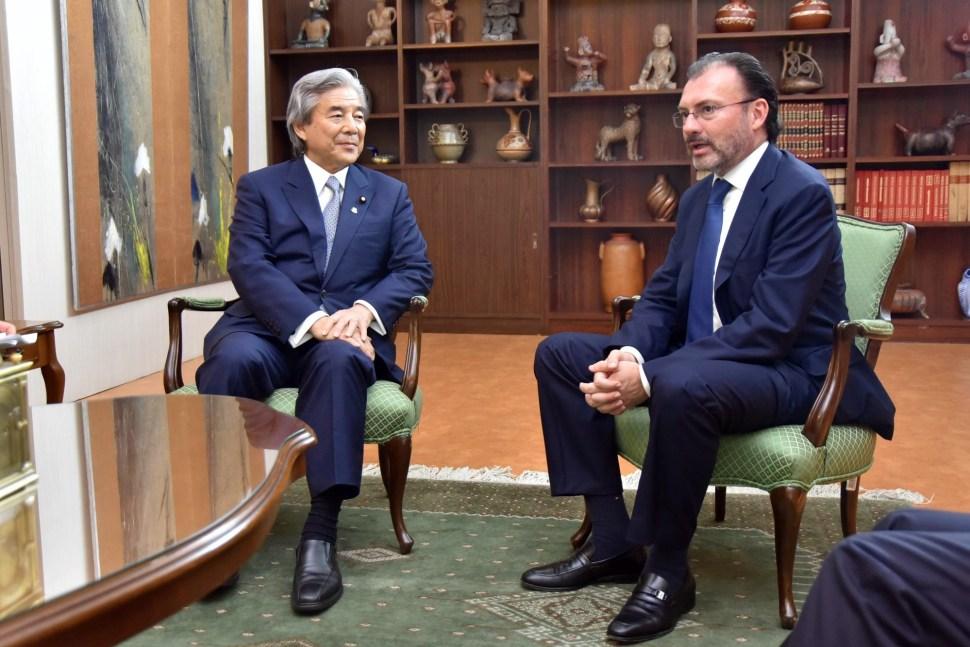 Luis Videgaray en reunión con Hirofumi Nakasone