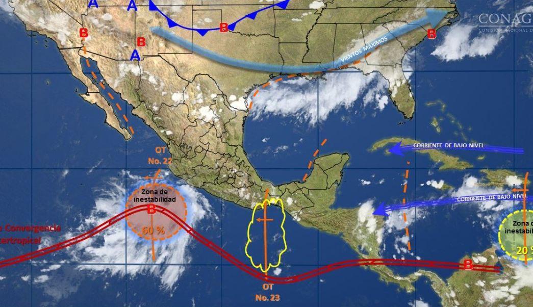 mapa con el clima para este 4 de agosto