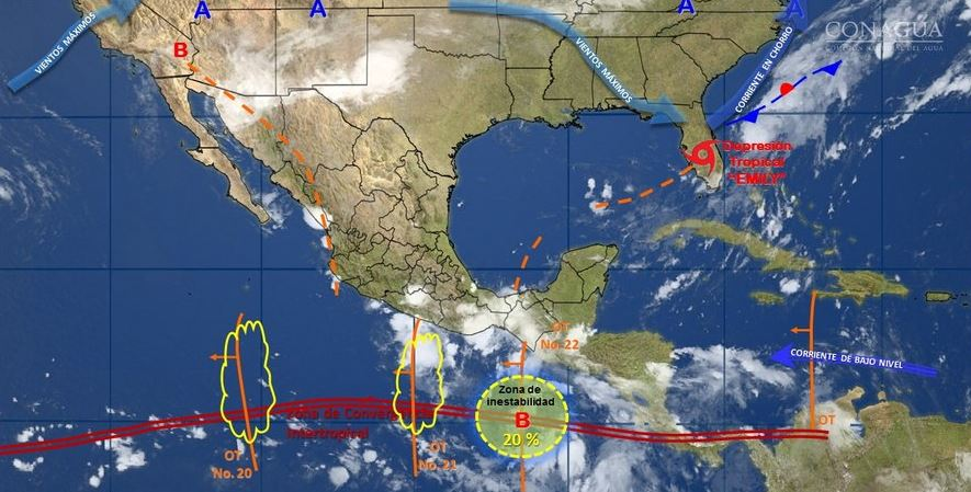mapa con el pronostico del clima para este 1 de agosto