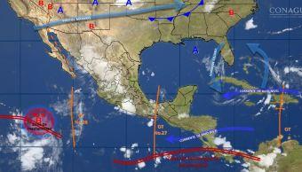 mapa con el pronostico del clima para este 18 de agosto