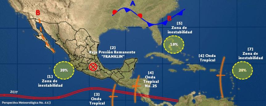 Mapa del clima con baja remanente 'Franklin'