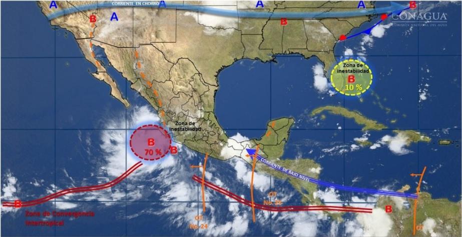 Ondas tropicales afectarán al norte y occidente de México