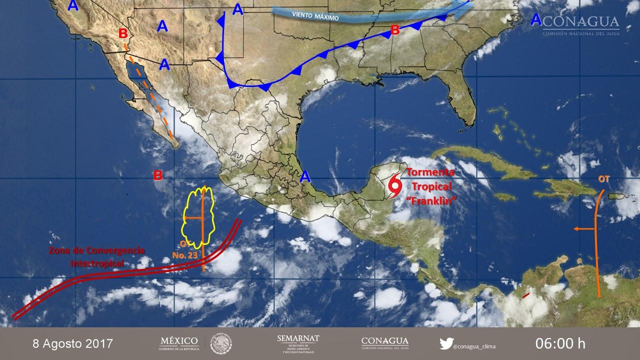 Pronóstico del clima por la tormenta tropical Franklin este martes