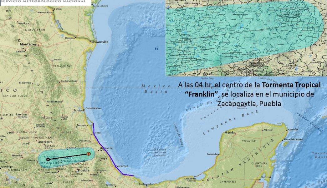 huracan franklin se degrada tormenta tropical Puebla