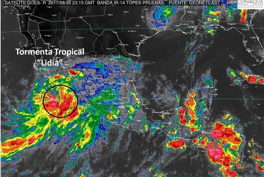 Alerta por tormenta tropical 'Lidia' en varios estados del país