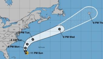 Mapa de la posible trayectoria de la tormenta 'Gert' en el Atlántico