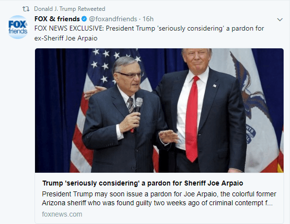 Donald Trump retuitea noticia de Fox News sobre Joe Arpaio