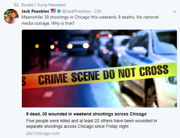Donald Trump reuitea al ultranacionalista Jack Posobiec por tiroteos en Chicago
