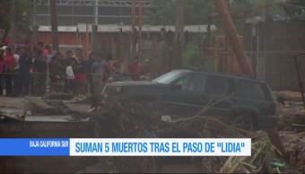 Suman 5 muertos tras el paso de 'Lidia' por Baja California Sur