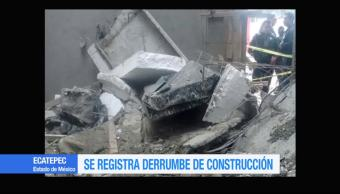 Se registra un derrumbe en una construcción en Ecatepec