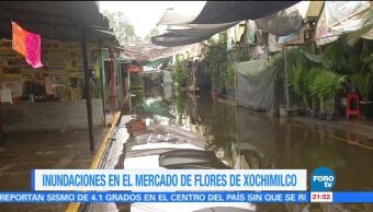 Mercado de flores en Xochimilco registra afectaciones por lluvia