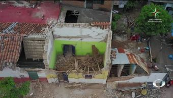 Inspeccionan el desastre con drones en Oaxaca